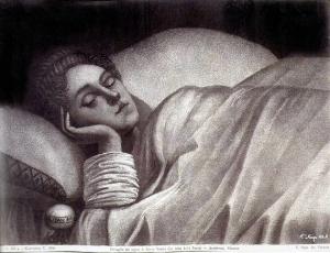 Grabado a blanco y negro de mujer durmiendo.