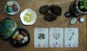 cartas lenormand puestas sobre mesa decorada con piñas de pino, caja con caracolas, plato con flores de manzanilla y planta suculenta