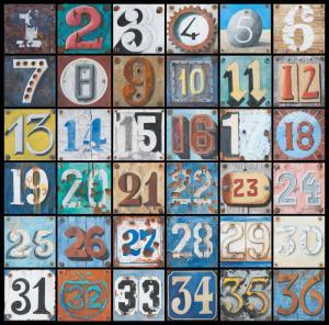 números en distintos estilos tipográficos del 1 al 36 en cuadro de 6 por 6