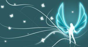 ángel azul luminoso sobre fondo oscuro con mariposas revoloteando alrededor
