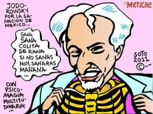 Caricatura de Alejandro Jodorowsky hecha por Edurado Soto inspirada en un acto psicomágico dedicado a México.