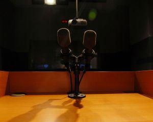 Dos micrófonos sobre podio de madera.