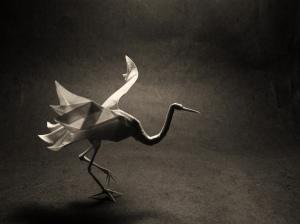 Grulla hecha en origami