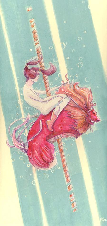 ilustración de mujer cabalgando un león rojo en un carrusel