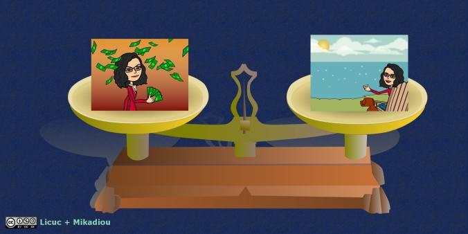 balanza roberval con caricaturas de mujer tirando plata y de mujer frente a un lago