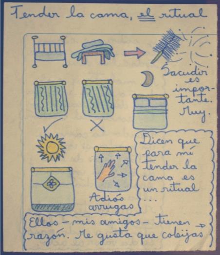 dibujos acerca de cómo tender una cama