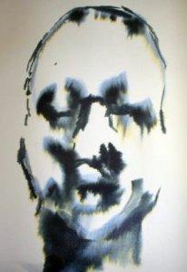 dibujo de cara de hombre en tinta con manchas de agua