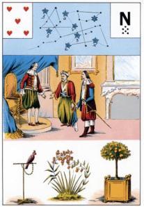 5 de corazones de las cartas astromitológicas mademoiselle lenormand