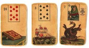 ejemplo de interpretación de un sueño usando tres cartas de la baraja lenormand del mazo original de el juego de la esperanza: libro, barco, serpiente
