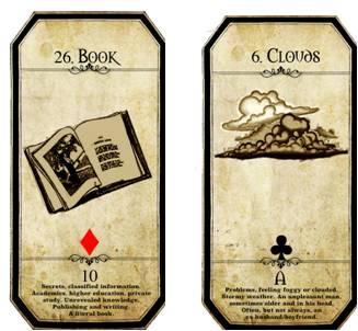 carta del libro y carta de las nubes de la baraja lenormand de carrie paris