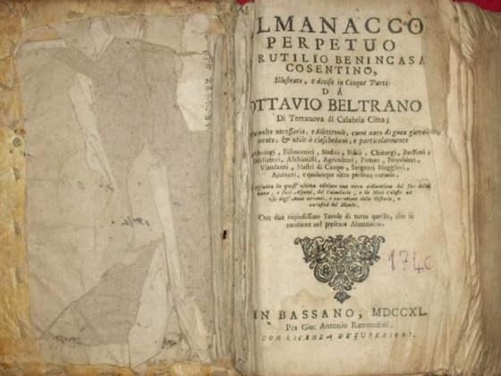 portada de almanacco perpetuo di rutilio benincasa cosentino