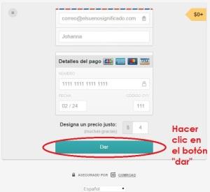 captura de pantalla de cómo pagar en gumroad al comprar un producto