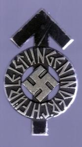 emblema de las juventudes hitlerianas mostrando la runa tiwaz y tipografía rúnica
