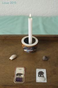 Recreación de la mesa que utilicé para meditar.