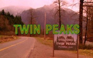 cartel de bienvenida a Twin Peaks con título de inicio de la serie