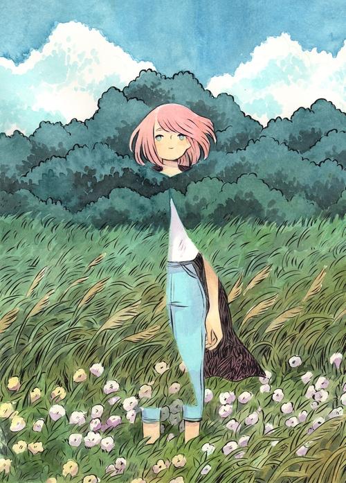 dibujo de chica de pelo rosa al aire libre que lleva puesta una capa interdimensional